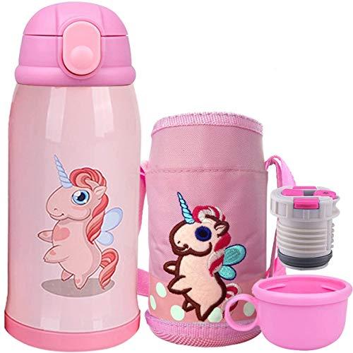Bioasis Botella Termica Niños Infantil Agua Acero Inoxidable Termo Sin Bpa Taza Viaje, 600ML, Rosa