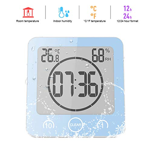 Indoor-Digital-Thermometer-Hygrometer, Digital-Badezimmer-Uhren-Thermometer-Hygrometer LCD-Saugnapf wasserdicht Dusch Uhren Temperatur- und Feuchtigkeitsmessgerät Alarm,Blau