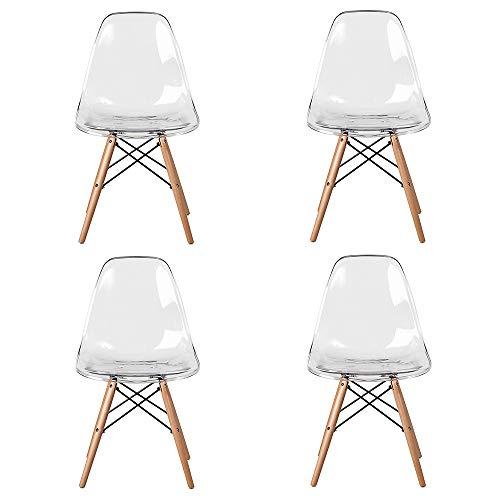 Juego de 4 sillas de comedor con patas de madera de haya, sillas transparentes blancas para restaurante, oficina, bar