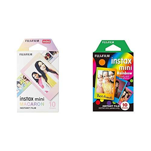 Instax Mini MacaroonPack de 10 películas instantáneas, Multicolor + Mini RainbowPelícula instantánea