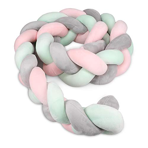 Navaris Protector para cuna de bebé - Trenza chichonera para bordes de cama - Cojín trenzado de 200 CM - Almohada con nudos - Rosa verde y gris