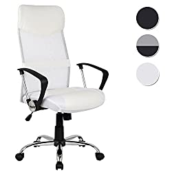 SixBros. Executive chair Office chair Swivel chair Desk chair SixBros. Office chair, desk chair that swivels, swivel chair for the office or home office, infinitely adjustable in height, executive chair made of mesh and synthetic leather, white H-935-6 / 1320