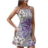Chicici Fashion Vestido de verano para mujer con peonías púrpuras y flores de jazmín elástico - Elegante ropa de playa
