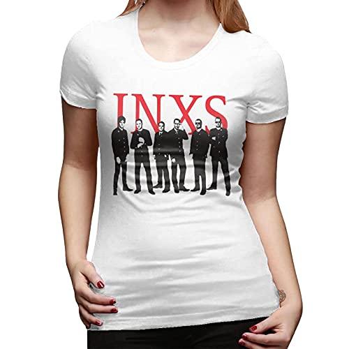 INXS Rock Band Shirt Women Cotton Short-Sleeve Round Neck T Shirts for Women 3D Printed Vintage Tee Shirt Womens Tops Fashion Summer Tshirt Xx-Large White