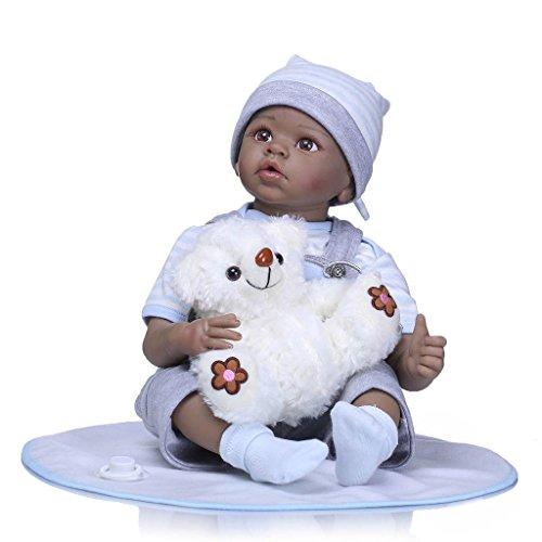 Nicery Reborn Baby Doll Muñeca Renacida Africana India Piel Oscura Vinilo de Silicona de Simulación Suave 22 Pulgadas 55cm Boca Realista Vivo Niño Niña Juguete vívido Ropa Azul Oso Blanco ID55C014