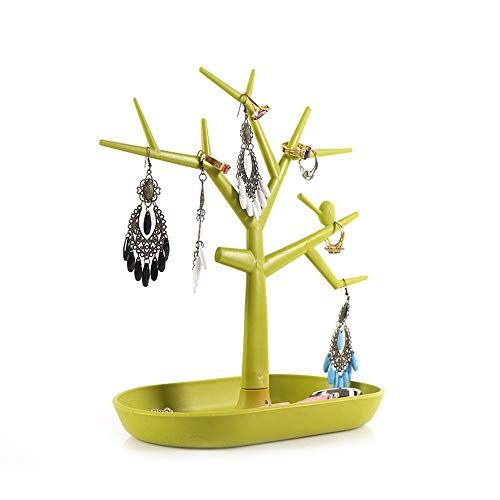 Jewelry Organizer Holder Bird Tree Display Storage Display Stand Accessories Creative Pendant Ring Earrings Display Stand for Rings Bracelets (Color : Green, Size : 29x23x12.5cm)