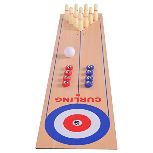 POHOVE 3 IN 1 Tapa de Tabla Shuffleboard, Curling Juego Y Bolos Juego, Base Mesa Tablero Juego con 10 Bolos Bolas, 32x7'' Shuffleboard Juego Mesa Familia Juego para Niños Y Adultos Interior Exterior