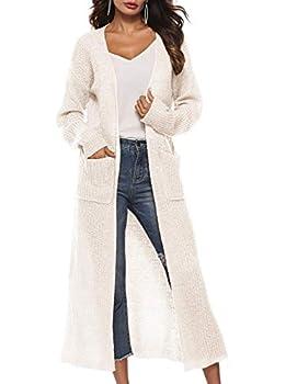 Women Autumn Irregular Split Big Pocket Sweater Long Sleeve Open Cape Casual Kimono Jacket Cardigan White-Cream