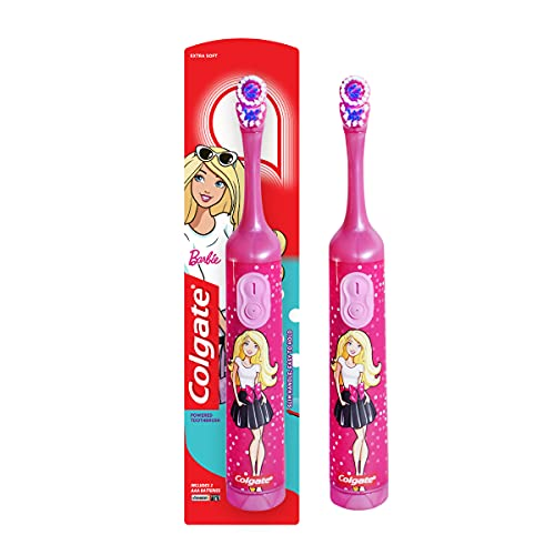 Colgate Kids Barbie Battery Powered Electric Toothbrush, Extra Soft Bristles (Age 3+)