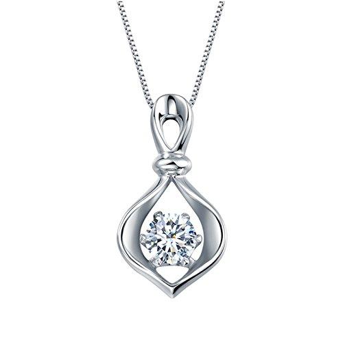 Daesar Echte Damen Halskette Platin 900 Unique Herz Design Silber Anhänger Halskette Silber Kette 45cm