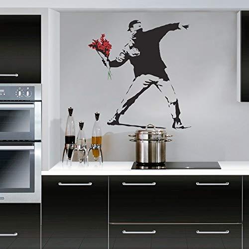 Wonderous Wall Art Banksy Flower Thrower-Wall Decal Adesivo da Parete Soggiorno Camera da Letto (Medio), Nero