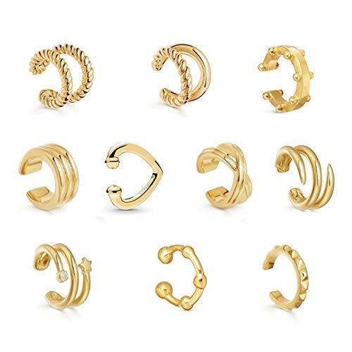 Pendientes de la hélice del oído 10pcs espumoso gemelos de oro delicada Huggie del perno prisionero para las mujeres del pendiente de la falsificación del anillo de nariz | Clip en el cartílago