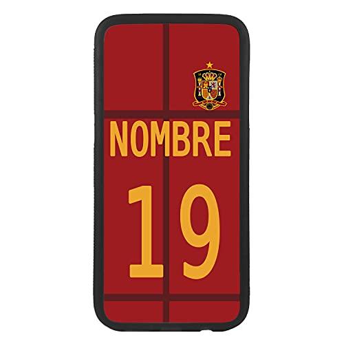 salvastore Carcasa Funda de móvil Personalizada con tu Nombre y número Camiseta selección española para iPhone XR Funda de Goma Flexible TPU Borde Negro CREA tu diseño para la eurocopa 2021