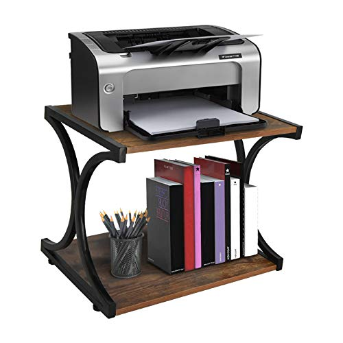 Updesign Vintage Large Size Desktop Printer Stand, Home and Office Desktop Organization Stand with Shelf, 2 Tier Wood Desk Stand and Organizer for...