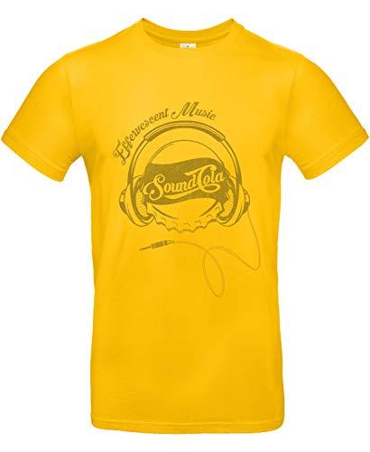 Smilo & Bron Herren T-Shirt mit Motiv Sound Cola Bedruckt Gold 3XL