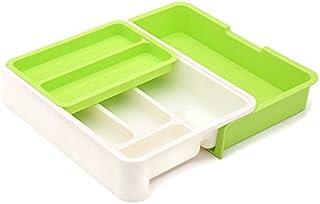 HornTide Bac à tiroirs 3-en-1 Organisateur de Rangement Extensible pour ustensile Porte-Vaisselle en Plastique pour Couver...