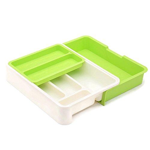 HornTide Bac à tiroirs 3-en-1 Organisateur de Rangement Extensible pour ustensile Porte-Vaisselle en Plastique pour Couverts Recevoir et Plus - Vert