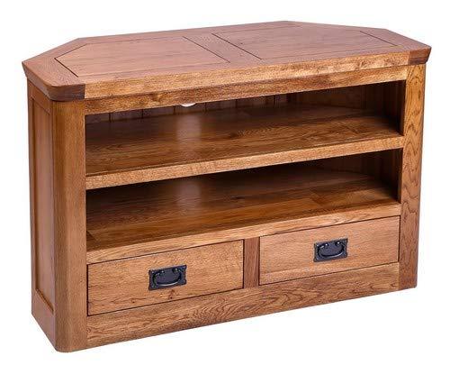 Hallowood London Solid 2 Drawer Corner TV Stand   Wooden Media Cabinet, Medium Oak, (ZR127)