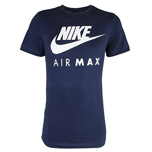 Nike Air Max - Camiseta de manga corta y cuello redondo, para hombre S-2&XL azul azul marino Talla L