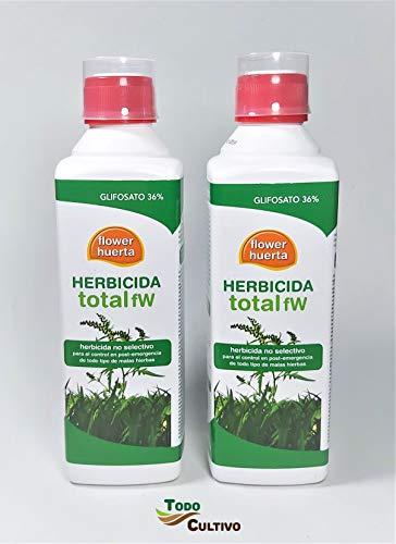 Herbicida Total Glifosato 36% -1 litro- (2x500ml. Tratamiento válido para 100 litros Agua) Aplicación en Post Emergencia de Malas Hierbas, no Residual y no selectivo (Total).