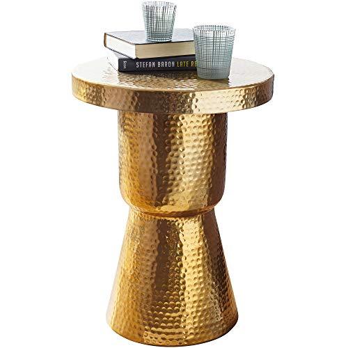 FineBuy Design Beistelltisch Delia 43 x 59 x 43 cm Aluminium Gold Dekotisch Orientalisch rund | Designer Ablagetisch Metall modern | Anstelltisch schmal | Kleiner Hammerschlag Abstelltisch