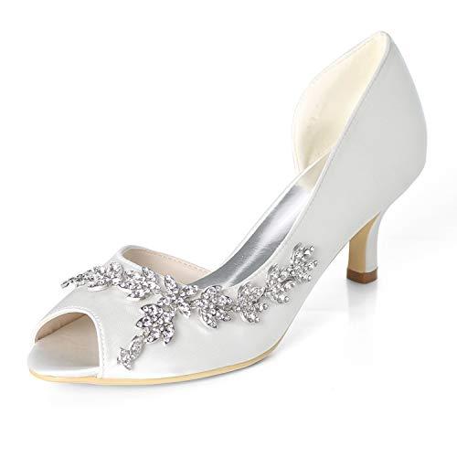 Elaboky Frauen Hochzeiten Brautschuhe Rheinschuhe Side-Raum Satin Size Slip auf GF-H Evening/6cm Ferse, White, 36