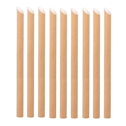 100 Pezzi di cannucce Realizzati con Pattini di Carta paperboba confezionati singolarmente - Pizzo cannucce in Carta Kraft - cannucce monouso - biodegradabile (Dimensione : 190 * 6mm)