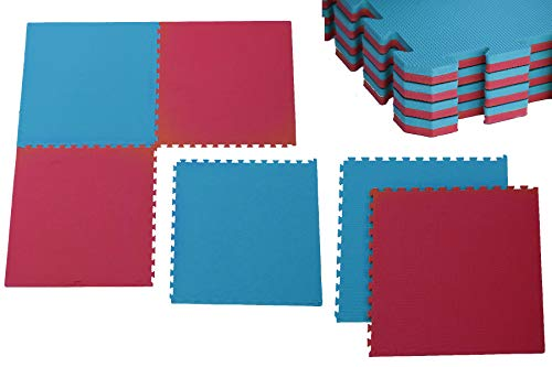 Creation Gross Sportmatte Steckmatte Judo Karate Yoga Kampfsport Rot-Blau 1mx1mx0,02m (0510120)