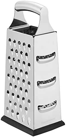 AmazonCommercial Stainless Steel Heavy Duty Cheese Grater 4 Sided Box Grater with Non Slip Base product image