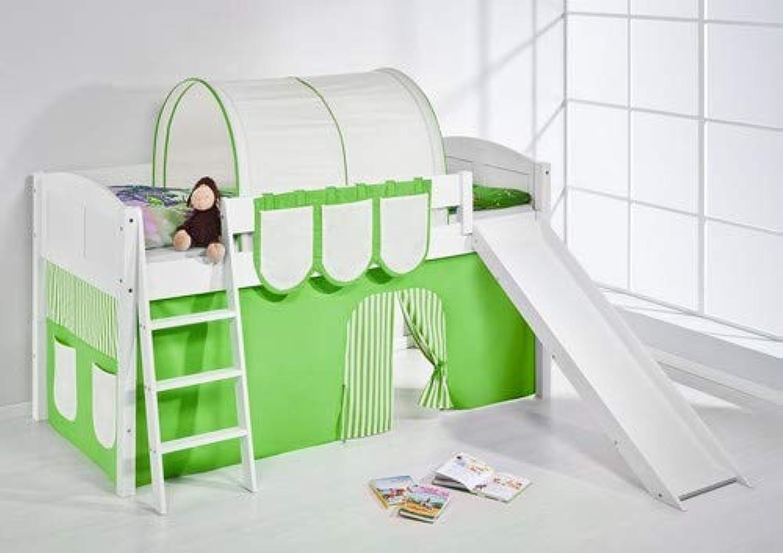 Lilokids Spielbett IDA 4106 Grün Beige-Teilbares Systemhochbett wei-mit Rutsche und Vorhang Kinderbett, Holz, 208 x 220 x 113 cm