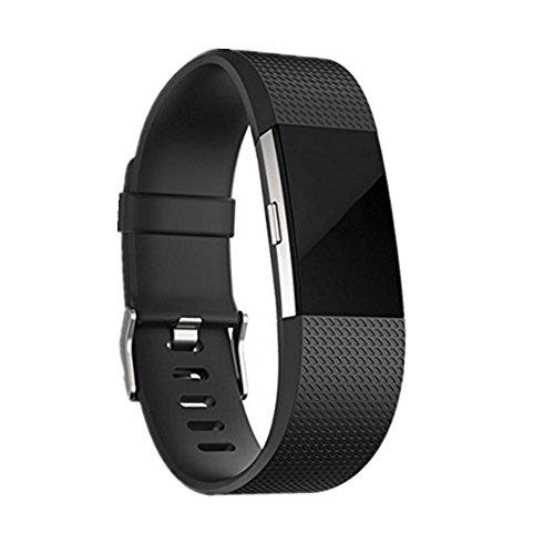 jStrap Fitbit Charge 2bandas de repuesto para Fitbit Charge 2HR Smartwatch Pulsera de gimnasio y # xFF0C; deportivo ajustable correa bandas grande pequeño, Negro