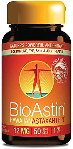 Astaxantina HAWAIIAN 12mg 50 cápsulas Bioastin   Antioxidante Natural   Ayuda a la Salud de las articulaciones, ojos y la piel durante la exposición al sol y los rayos UV   Sin Gluten   No OGM