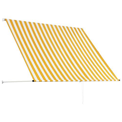 Vordach Einziehbar 200 x 150 cm, Markise Gartenlaube UV- & witterungswiderstandsfähig Verstellbare Höhe Sonnendach Manuell aus Stahl & Polyester, Gelb & weiß