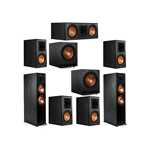 New Klipsch 7.2 System with 2 RP-8000F Floorstanding Speakers, 1 Klipsch RP-600C Center Speaker, 4 K...