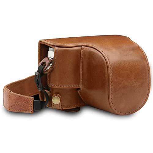 Megagear mg1606 para Leica d-Lux 7 Estuche Ever Ready, Funda de Pronto Uso de Cuero auténtico, con Correa - marrón.