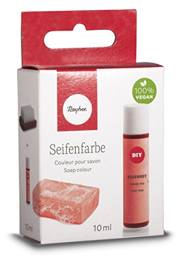 Rayher Hobby 34246280 Seifenfarbe, 10 ml, geruchsneutral, 100% vegan, schadstofffrei und ökologisch abbaubar, im wiederverschließbaren Kunststofffläschchen mit Schraubdeckel, gut dosierbar, feuerrot