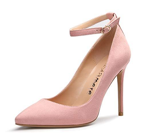 CASTAMERE Scarpe col Tacco Donna Cinturino alla Caviglia Tacco a Spillo 10CM Scamosciato Rosa Scarpe EU 43