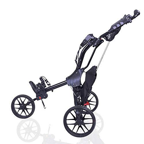 HANHJ Carrito De Golf Carrito De Golf Ligero Plegable con Rueda Delantera Giratoria 360, Un Segundo para Abrir Y Cerrar Carrito De Golf De 3 Ruedas,Black