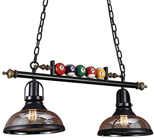 ZXM E27 Industrie Billard Kronleuchter Retro Pendelleuchte Glas Lampenschirm Verstellbare Aufhängung Billardtisch Hängelicht Schwarz Vintage Metall Deckenleuchte Einzigartige Bar Esszimmer,B