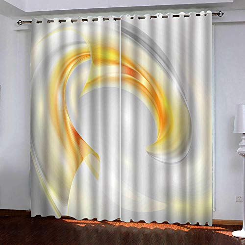AUYTQ Blackout Curtains for Bedroom Windows Eyelet Thermal Insulated Kids Room Darkening Yellow Vortex Patterns Printed Polyester Material Curtains for Nursery, W59.1 x L65.4 Inch,White