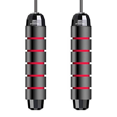 Ejercicio Fitness Rodamiento de Salto de la Cuerda Tangle-Free Saltando Cuerda Ajustable Solking Speed Speed Crossfit Cuerda Skipping Equipments (Color : Black Red)