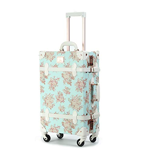 Unitravel Retro Suitcase 26 inch Vintage Cute Luggage with Spinner Wheels Combination Lock for Women (Floral Blue)