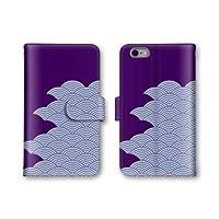 【ノーブランド品】 iphone7 Plus スマホケース 手帳型 和柄 模様 パープル 紫 5番 スマホカバー かわいい おしゃれ 携帯カバー アイフォン7 ケース