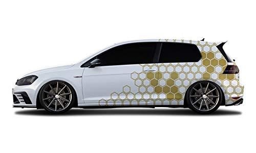 WRAP-SKIN Camouflage Cyber Pixel Aufkleber Auto Tuning Komplettset 2 x WS-01-00-10002 930 Gold Metallic Glanz