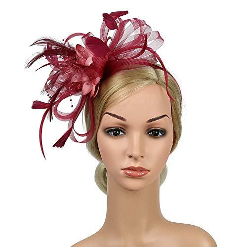 D&XQX Chica Malla y Sombrero de Plumas Blanco Rojo Negro Rosa Dama Boda Cabeza Flor sólido Mujer Fascinator Novia Accesorios de Pelo,J