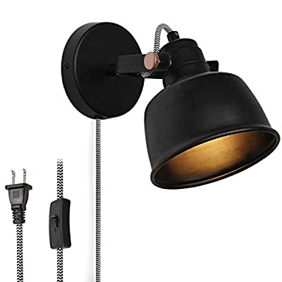 Modern Plug in Wall Sconce Rotatable Wall Lamps for Bedroom, Black Contemporary Nordic Wall Mounted Adjustable Lights Fixture with On/Off Switch Cord for Living Room, Bedside Reading(No E12 Bulb)