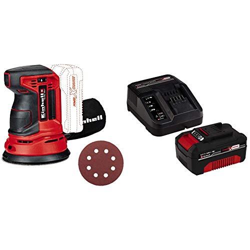 Einhell 4462010 Lijadora Excentrica Electronica TE-RS 18 li, 0 W, 18 V, Rojo + 4512042 Kit con Cargador y batería de repuest, tiempo de carga: 60 Minutos