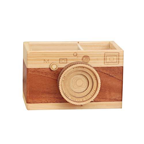 Artispro ペン立て ペンスタンド 木製 おしゃれ オフィス かわいい カメラ 面白い 木目 卓上収納