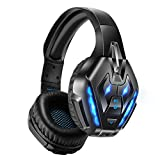 PHOINIKAS Gaming Headset for PS5, PS4, PC, Xbox one Headset with 7.1 Steoer Sound, Bluetooth Wireless Headset for Phone, Over Ear Headphones with Noise Cancelling Detachable Mic, Bluetooth Up to 40h