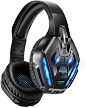 Wireless Bluetooth Gaming Headset, PHOINIKAS Stereo Over Ear Headphones with Detachable Noise Canceling Mic, 3.5mm Cable Wired for PS4, Xbox One, PC, Nintendo Switch, Bluetooth for Phone, up to 40h